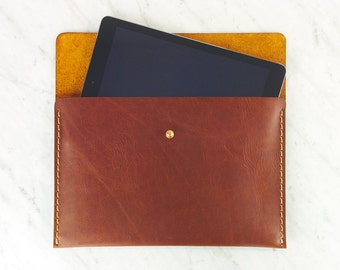 Leather iPad - Sleeve / Leather Tablet Cover / Handstiched Leather Mini Folio / Clutch for small tablet made of Horween leather.