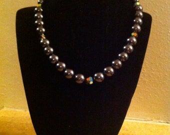 Dark Grey Pearls with Czech Cut Glass Necklace