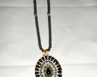 Black Beads with Large Multicolored Round Pendant