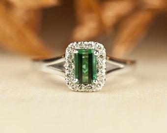 Emerald Cut Engagement Ring, Emerald Halo Ring, green tourmaline, Unique Engagement Ring, Emerald Engagement Ring, simple, diamond halo