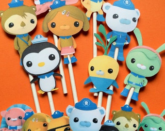 8 Octonauts inspired cupcake toppers plus a group cut out, Octonauts toppers, Toppers Octonauts, Octonauts party theme