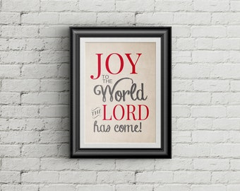Joy To The World Christmas Print Holiday Decor Christmas Decoration Joy To The World Wall Art Print Holiday Art