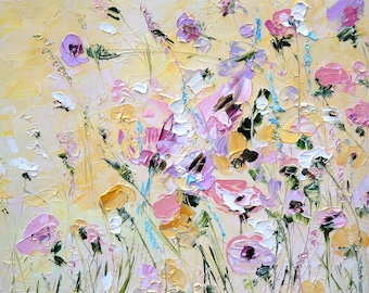 Painting on Canvas Light Delicate Painting Bedroom Oil Painting Flowers Palette Knife Painting Peony Bohemian Boho Russian Biege Lilac
