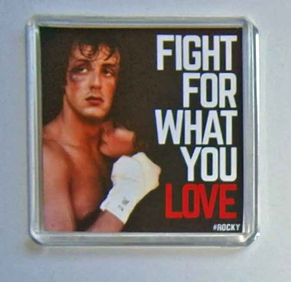 Rocky Sylvester Stallone Change Talia Shire movie poster square fridge magnet New