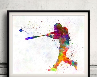 Baseball player hitting a ball 02 - poster watercolor wall art gift splatter sport baseball illustration print Glicée artistic  - SKU 1234