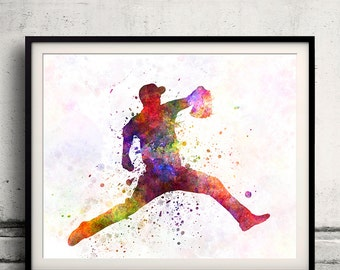 Baseball player throwing a ball 04 - poster watercolor wall art gift splatter sport baseball illustration print Glicée artistic  - SKU 1243