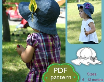 Girls  Sun Hat PDF Sewing Pattern// Baby Toddler 6m to 4 y //Kids Summer Hat with Brim/ Hat Download pattern/ Hats Sewing Project