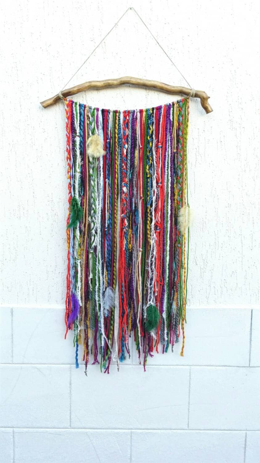 Bohemian decor boho garland wall hanging wall tapestry yarn for Wall hanging images
