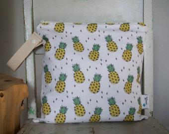 Wet Bag - Wetbag - Swimsuit Bag - Kids Beach Bag - Nappy Bag - Baby Shower Gift - White, Green, Yellow Pineapple Waterproof Bag