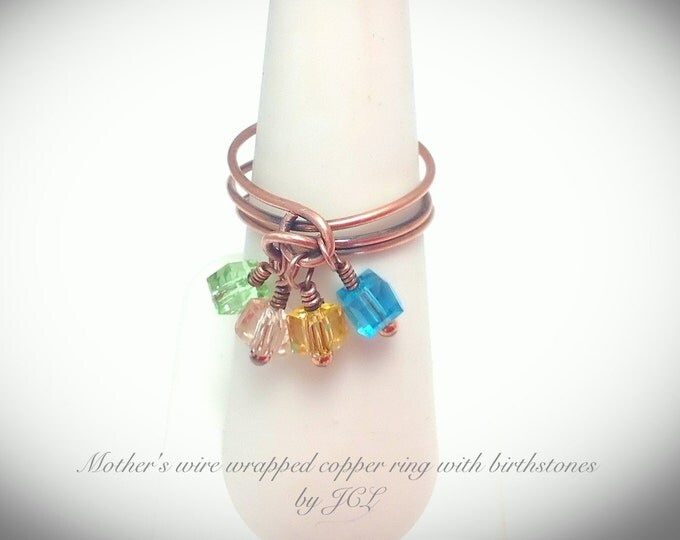 Mother's copper wire wrapped ring with Swarovski Crystal l birthstones