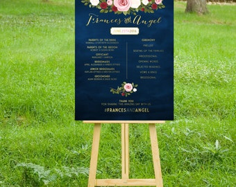 The ASHLEY Program Sign. PRINT or PDF, Shipping Included. Welcome Wedding Gold Navy Calligraphy Chalkboard Blush Pink Red White Rose Vintage