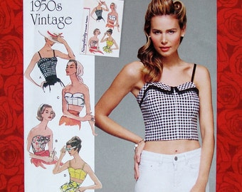 Simplicity Sewing Pattern 8130 Crop Tops Bandeau Balconette Bras, Sizes 14 16 18 20 22, 1950's Retro Vintage Style, Rockabilly Summer, UNCUT