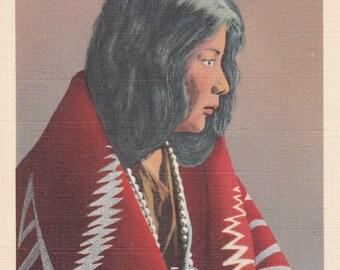 Lo-Lee-Ta Pueblo Girl -Laguna  New Mexico,1940s Linen Fred Harvey Postcard, Unused