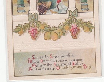 Exquisite Architectural Columns And Details, Gold,Embossed,Turkeys,Fruit,Antique Thanksgiving Postcard