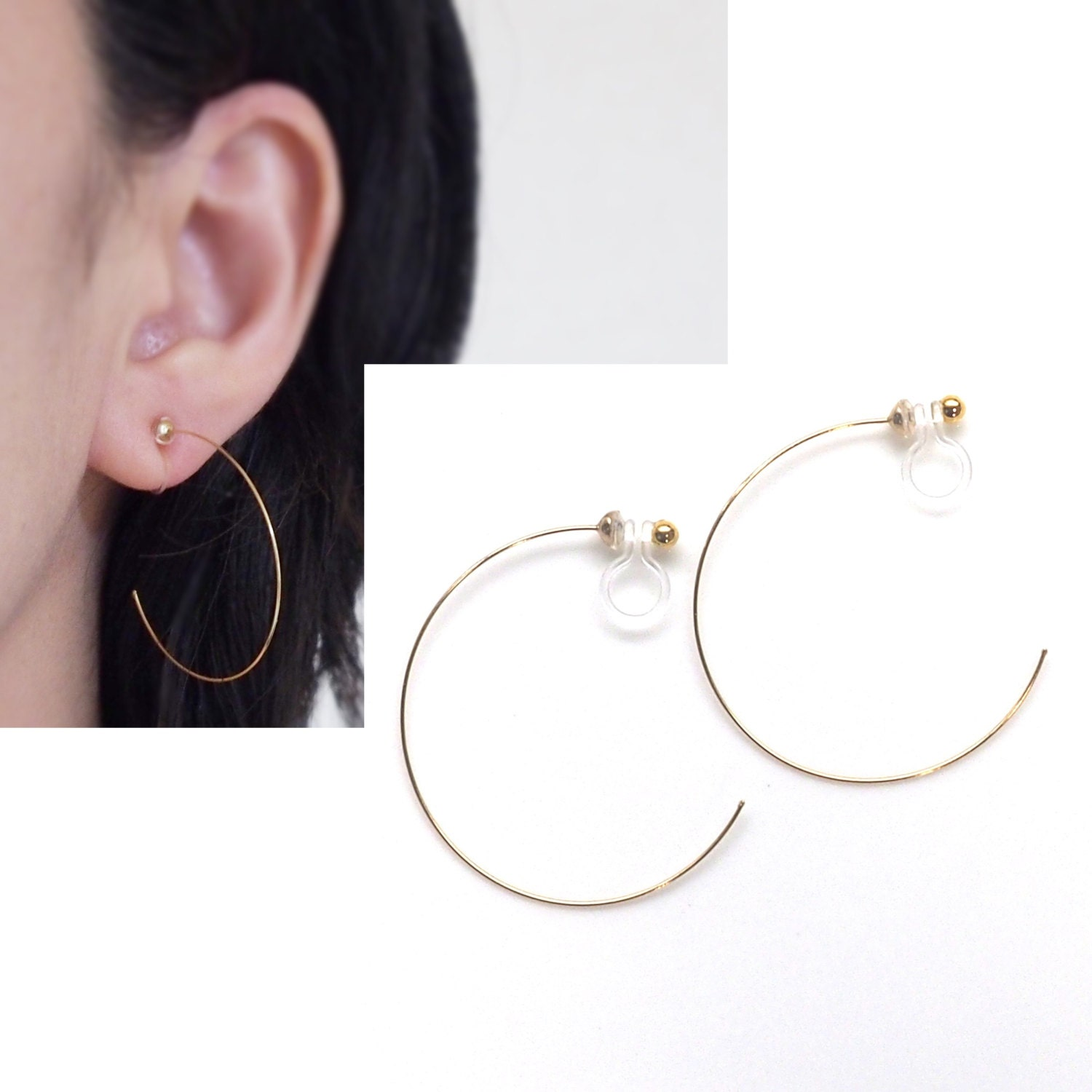 Gold Invisible Clip On Hoop Earrings Non Pierced Earrings Clip