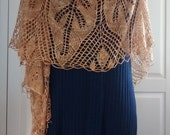 Lace hand knitted  mulberry silk stole - honey nectar stole- gift for her- wedding-evening wear-beads-pure silk
