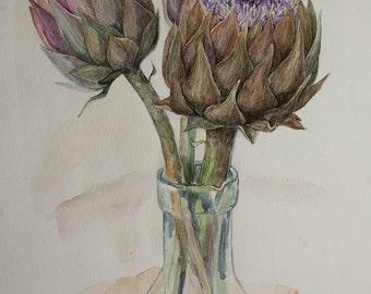 Watercolor Artichokes