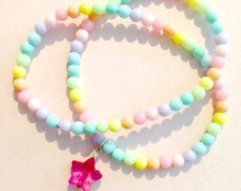 Candy rainbow charm necklace