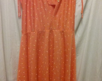 Nautical Vintage Dress in Sherbet Orange