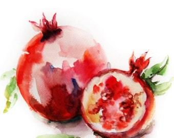 Watercolor Print, Pomegranates Still Life Watercolor Painting Art Print