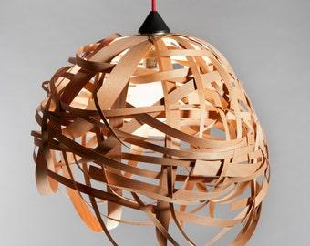 Lighting. Wood Ceiling Lamp. Modern Ceiling Light. Hanging Pendant Light. Nest Veneer Lampshade. Wood Lamp. Wood Light Fixture. Hanging Lamp