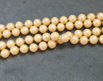 """Vintage Faux Pearl 42"""" Long Quality Necklace 1950s Hand Knotted Heavy"""