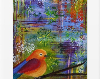 Bird print, Bird wall art, Bird home decor, Baby bird, Bird lovers, Free As A Bird, Vibrant bird art, Whimsical bird art(unmatted/unframed)
