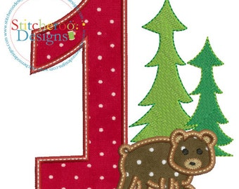 Lumberjack Birthday #1 Applique Design -In Hoop sizes 4x4, 5x7, and 9x9- Instant Download - for Embroidery Machines