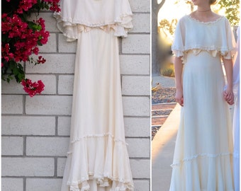 Vintage 70s Bohemian Wedding Dress Ivory Cape Style Gown