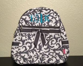 Damask Print Monogrammed Quilted Backpack Gray and White