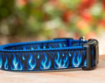 Blue Flames Dog Collar XS -XL