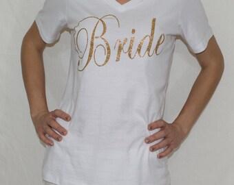 Bride shirt, bachelorette set shirt, bridal shower shirts, wedding day shirt, glitter bride, gift for bride, bride to be, bridal gift