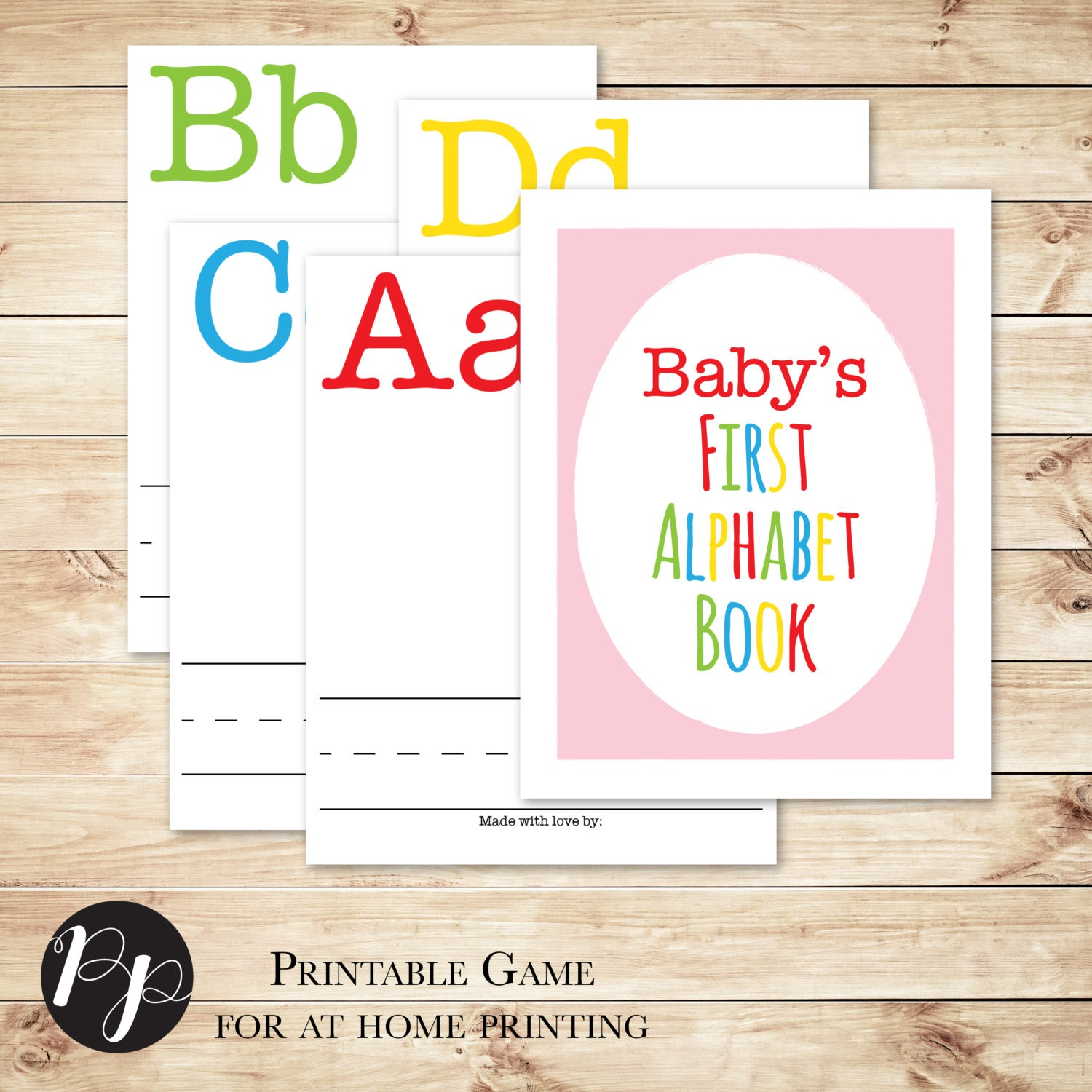 Alphabet book baby shower game with pink cover build a for Baby shower game booklet template