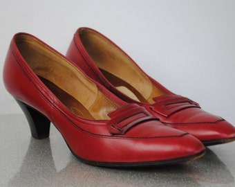 Vintage 60's Selby Red Leather Pumps - 1960's Red Heels