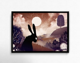 PRINT. Peaceful surreal landscape. Watership Down black rabbit of inle illustration. Dark and calm. Handsigned. Letter size print