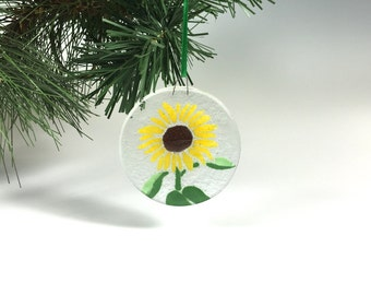Sunflower Ornament, Fused Glass, Sunflower Window Hanging, Yellow Flower