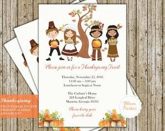 Thanksgiving Invitations Thanksgiving Feast Thanksgiving Dinner Party Invites Digital Printable