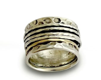 Textured silver spinner band, Rustic wedding ring, Wide Mixed Metals spinners ring, silver gold Organic ring, Men Woman spinner ring, sale