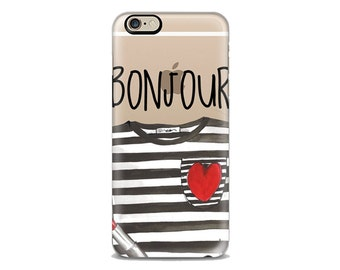 Bonjour phone case,French phone case ,Iphone Case, Iphone 6 case , Iphone 5 case, Iphone 4 case, custom iphone cover, Bonjour i6 phone