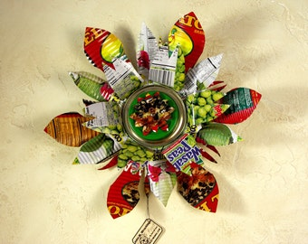Home Decor,Wall Hanging, Printed Metal Flowers - Recycled Art