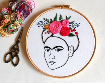 Frida Kahlo Wall Art, Modern Embroidery Hoop Art, Hand Embroidered Flower Crown, Feminist Gift for Her