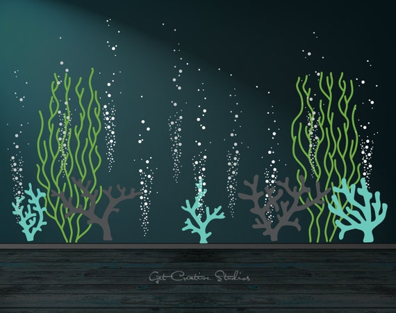 underwater decal ocean wall decal bubble wall decal aquarium wall decals nursery nursery wall decal underwater decal