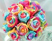 Artificial Rainbow Rose Round Posy Bridal and Bridesmaids Wedding Bouquet. Real Touch flowers Artificial  wedding flowers