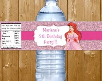 Ariel Water Bottle Labels Ariel Birthday Party Water Bottle Labels Disney Princess Ariel Water Bottle Labels Instant Download
