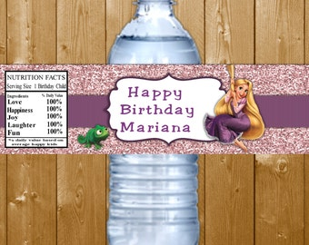 Tangled Water Bottle Labels Rapunzel Birthday Party Water Bottle Labels Disney Princess Rapunzel Water Bottle Labels Instant Download