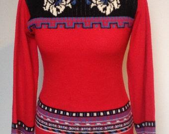 1970s, Scandi, Folk, Hipster wool jumper size 8-10