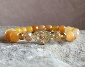 NEW! Stone Of Heaven Luck Good Fortune Happiness Love Joy Healing Wisdom Liberation- Yellow Jade Gemstone Beaded Zen Bracelet W/ Hamsa Charm
