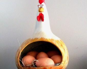 Flossie - Chicken Gourd Egg Holder, house warming, wedding gift