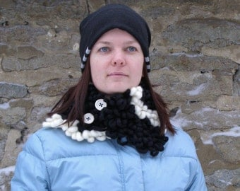 Merino knit buttoned scarf, Black and White knitted scarflette, Unique gift for girlfriend