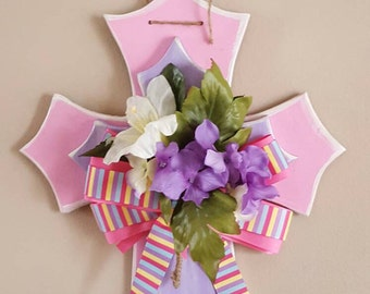 Pink and Purple Easter Holiday Cross with Flower Accents